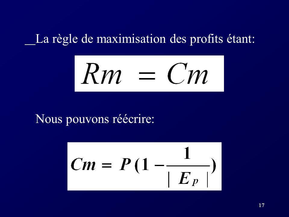 La règle de maximisation des profits étant: