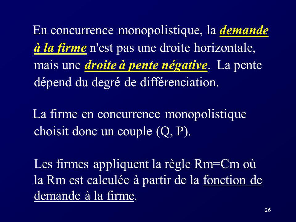 En concurrence monopolistique, la demande à la firme n est pas une droite horizontale, mais une droite à pente négative. La pente dépend du degré de différenciation.