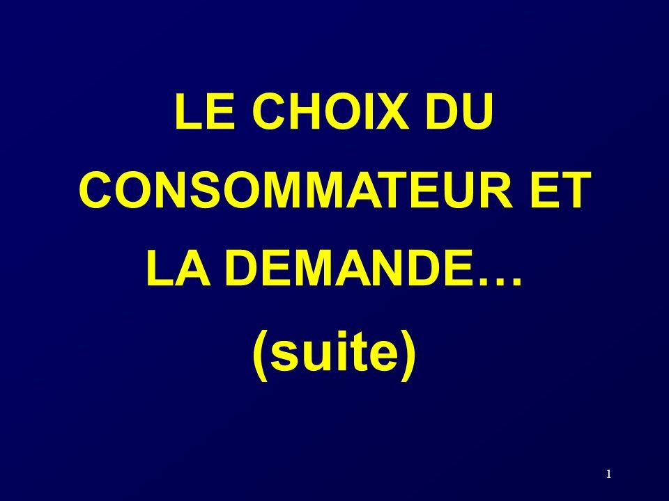 LE CHOIX DU CONSOMMATEUR ET LA DEMANDE… (suite)