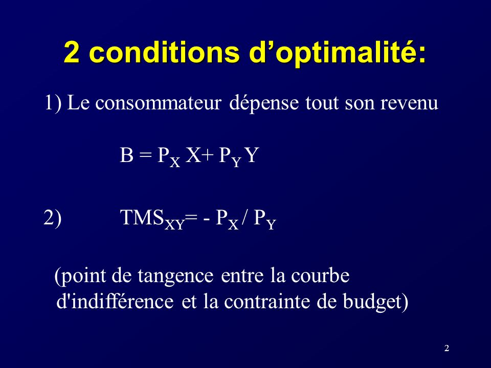 2 conditions d'optimalité: