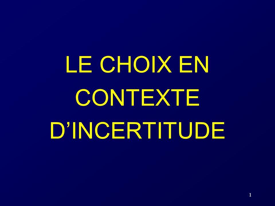 LE CHOIX EN CONTEXTE D'INCERTITUDE