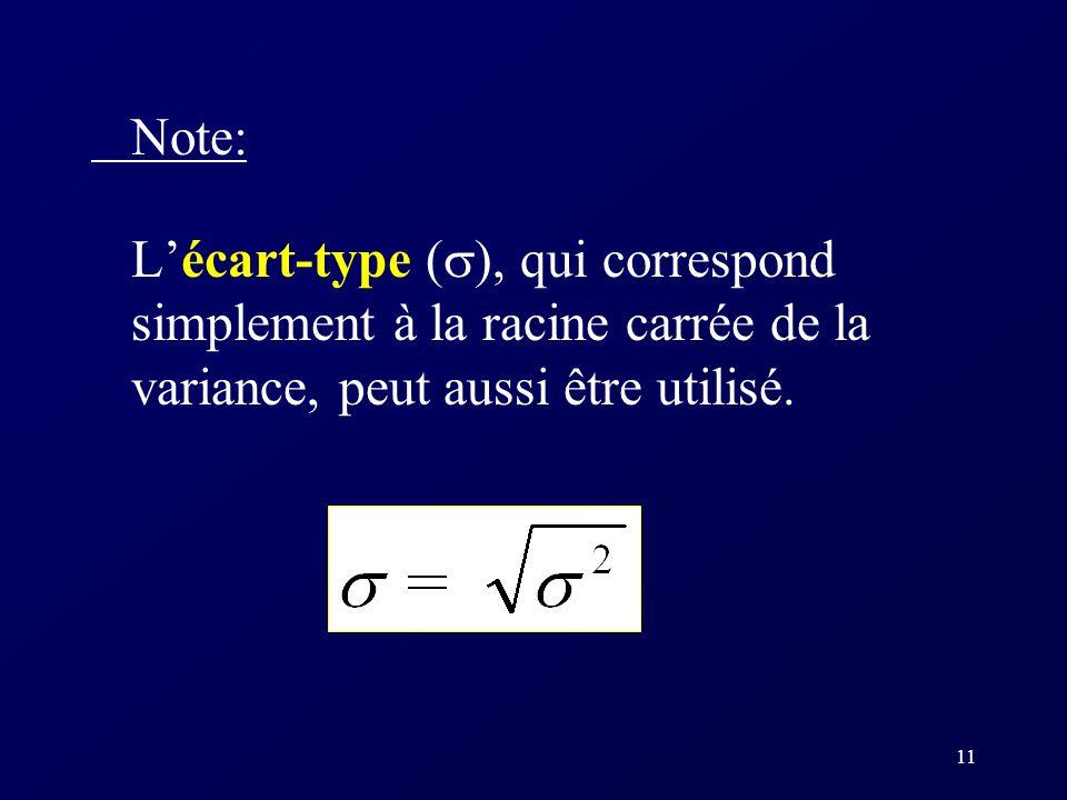 Note: L'écart-type (), qui correspond simplement à la racine carrée de la variance, peut aussi être utilisé.