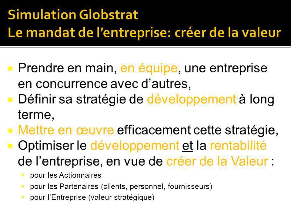 Simulation Globstrat Le mandat de l'entreprise: créer de la valeur