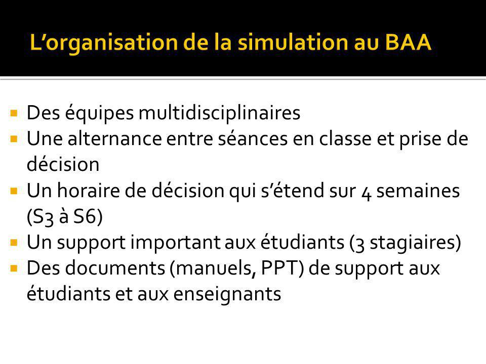 L'organisation de la simulation au BAA