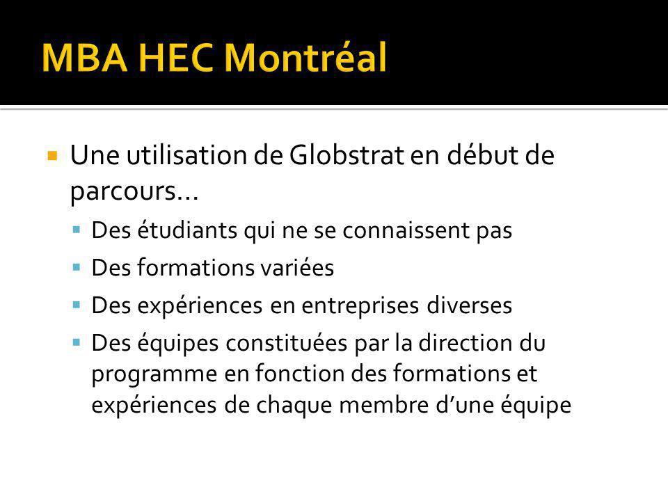 MBA HEC Montréal Une utilisation de Globstrat en début de parcours…
