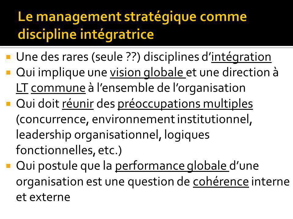Le management stratégique comme discipline intégratrice