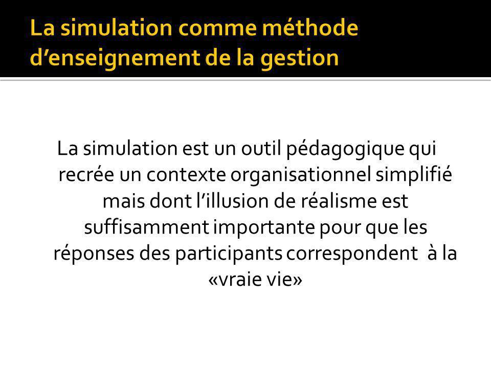La simulation comme méthode d'enseignement de la gestion