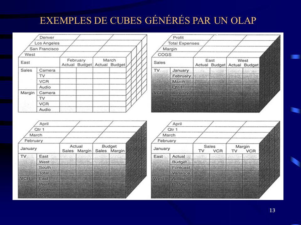 EXEMPLES DE CUBES GÉNÉRÉS PAR UN OLAP