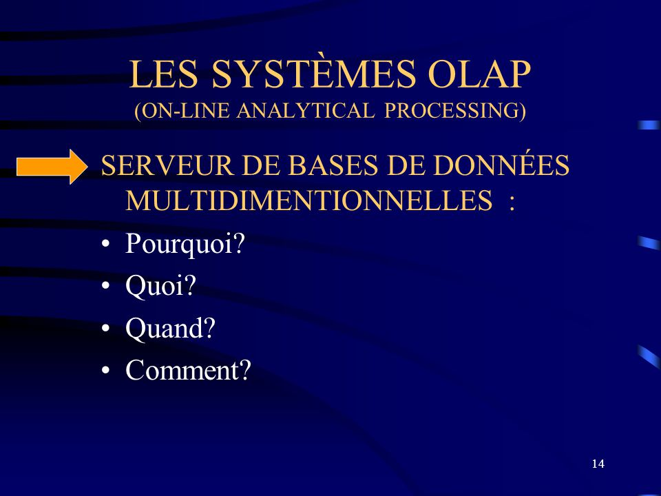 LES SYSTÈMES OLAP (ON-LINE ANALYTICAL PROCESSING)