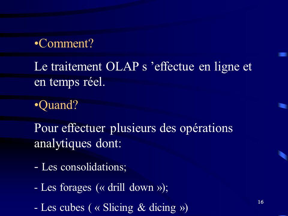 Le traitement OLAP s 'effectue en ligne et en temps réel.