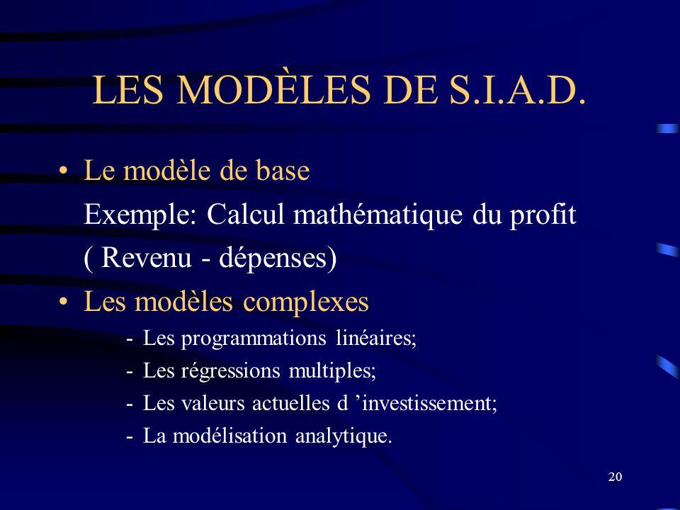 LES MODÈLES DE S.I.A.D. Le modèle de base