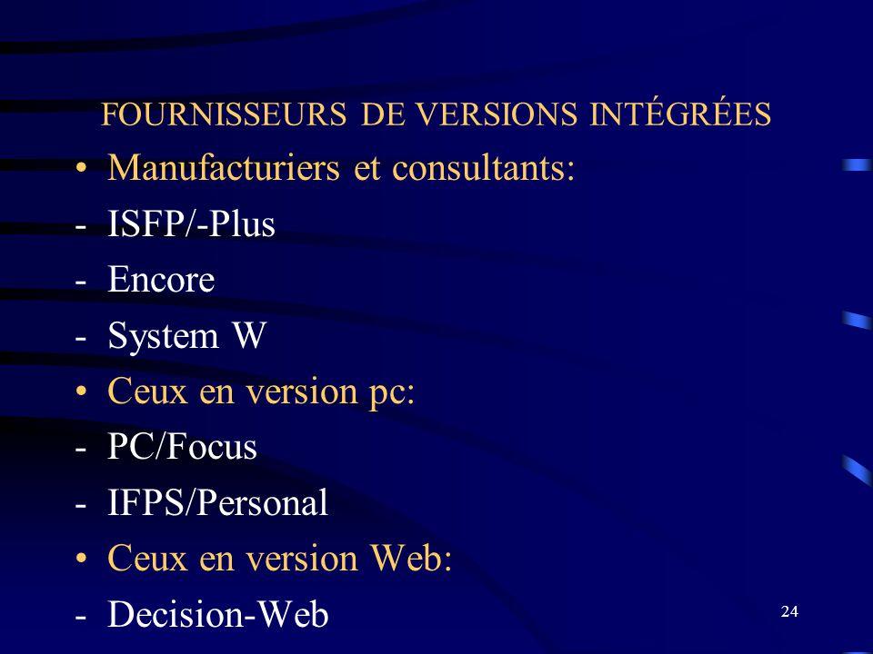 FOURNISSEURS DE VERSIONS INTÉGRÉES