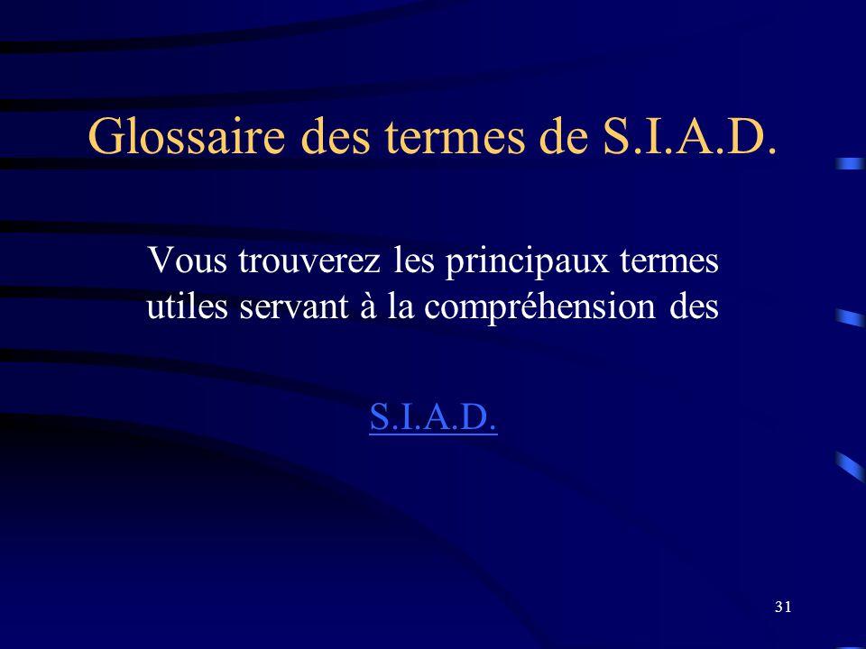 Glossaire des termes de S.I.A.D.