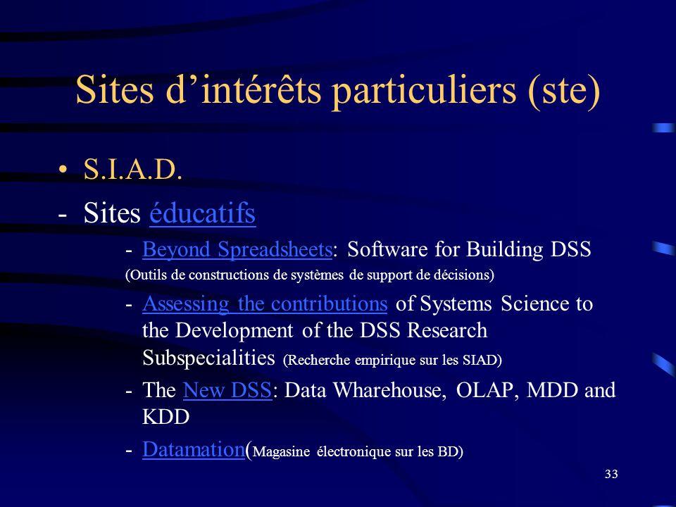 Sites d'intérêts particuliers (ste)
