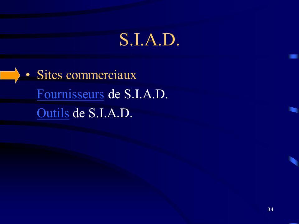 S.I.A.D. Sites commerciaux Fournisseurs de S.I.A.D. Outils de S.I.A.D.