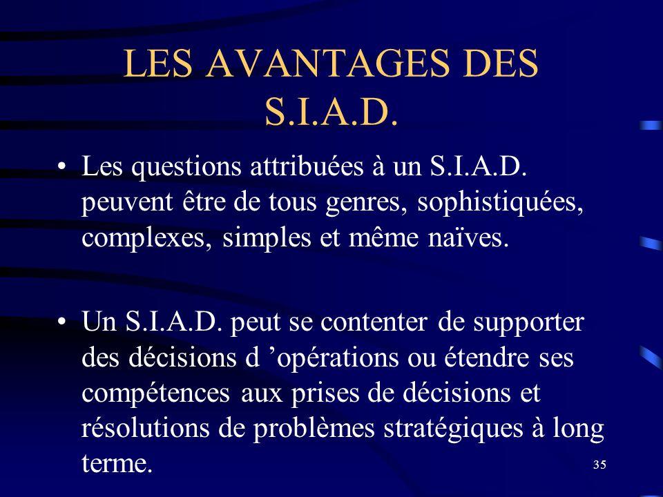 LES AVANTAGES DES S.I.A.D. Les questions attribuées à un S.I.A.D. peuvent être de tous genres, sophistiquées, complexes, simples et même naïves.