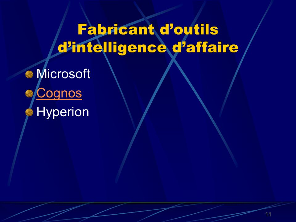 Fabricant d'outils d'intelligence d'affaire