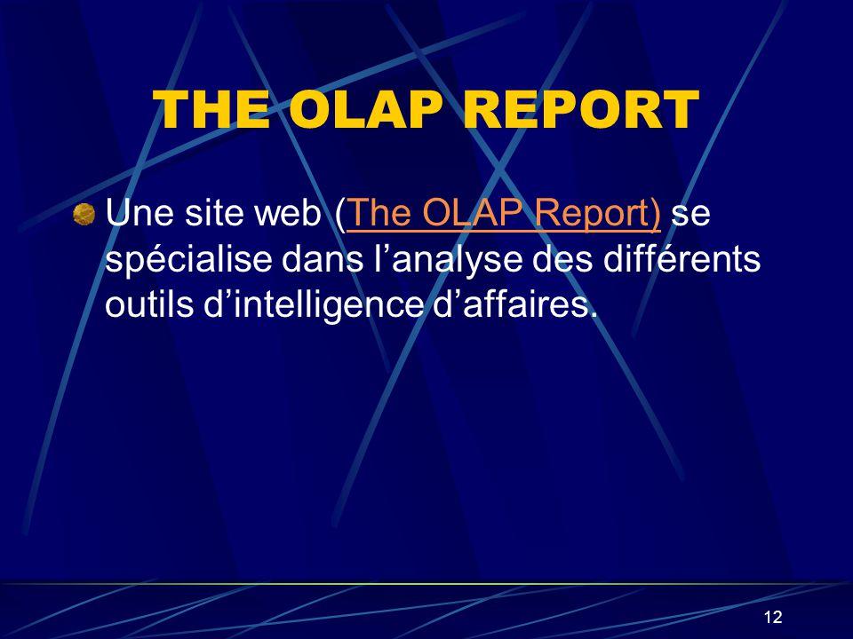 THE OLAP REPORT Une site web (The OLAP Report) se spécialise dans l'analyse des différents outils d'intelligence d'affaires.