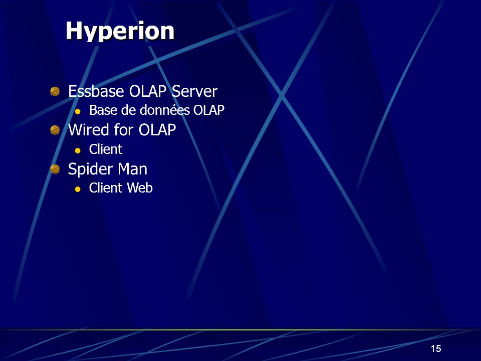 Hyperion Essbase OLAP Server Wired for OLAP Spider Man