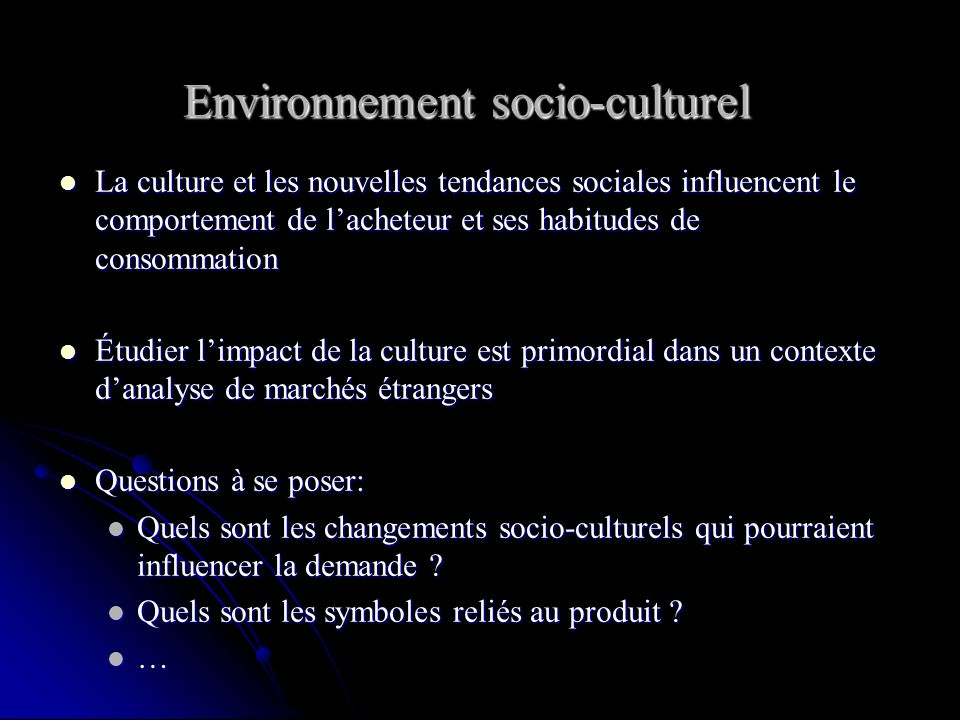 Environnement socio-culturel