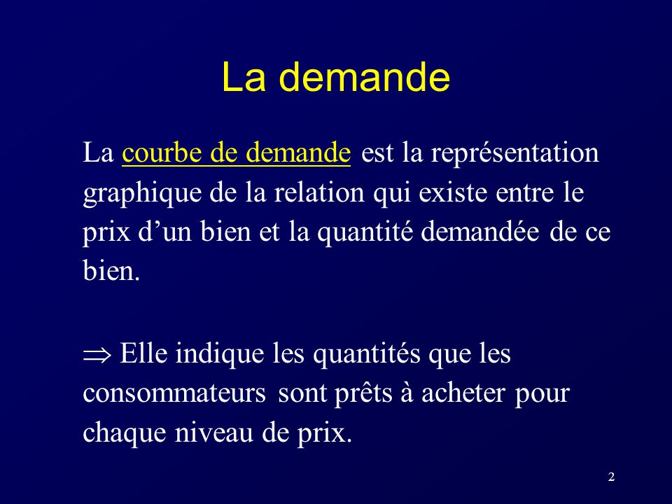 La demande La courbe de demande est la représentation graphique de la relation qui existe entre le prix d'un bien et la quantité demandée de ce bien.