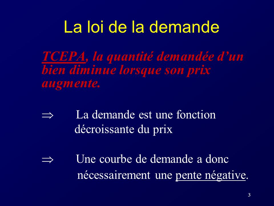 La loi de la demande TCEPA, la quantité demandée d'un bien diminue lorsque son prix augmente.