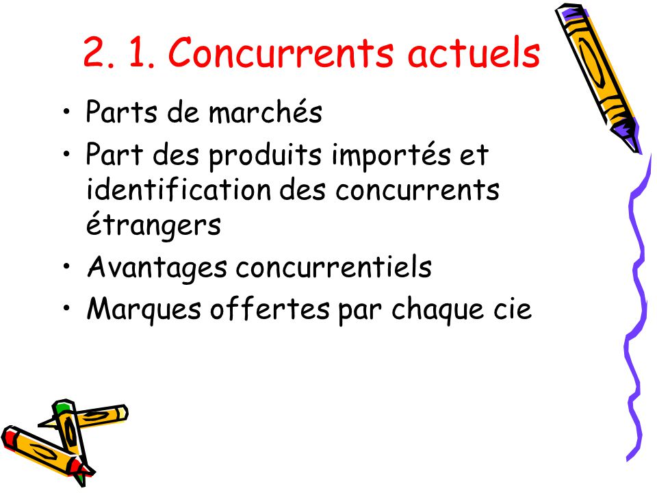 2. 1. Concurrents actuels Parts de marchés