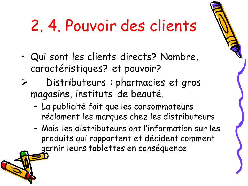 2. 4. Pouvoir des clients Qui sont les clients directs Nombre, caractéristiques et pouvoir