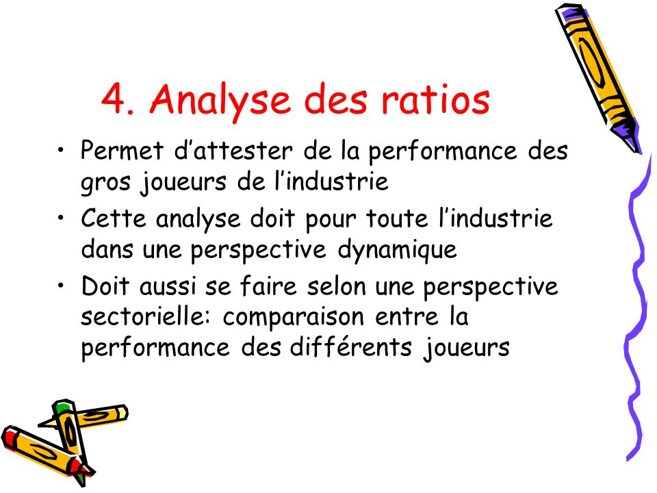 4. Analyse des ratios Permet d'attester de la performance des gros joueurs de l'industrie.