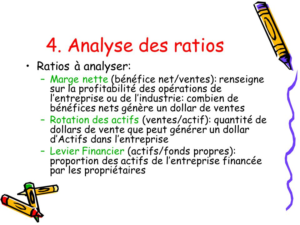 4. Analyse des ratios Ratios à analyser: