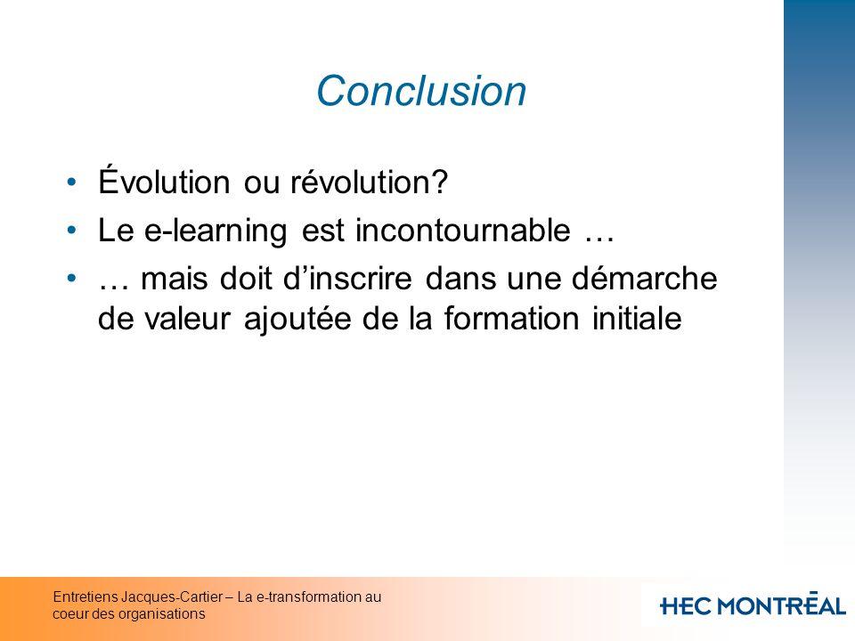 Conclusion Évolution ou révolution Le e-learning est incontournable …