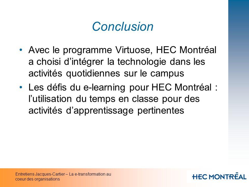 Conclusion Avec le programme Virtuose, HEC Montréal a choisi d'intégrer la technologie dans les activités quotidiennes sur le campus.