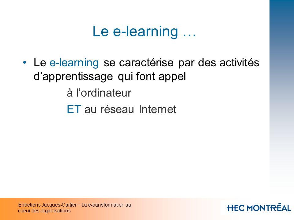 Le e-learning … Le e-learning se caractérise par des activités d'apprentissage qui font appel. à l'ordinateur.