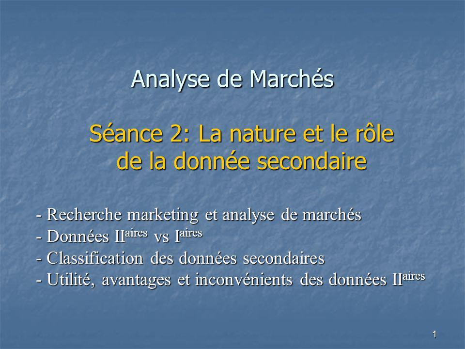 Séance 2: La nature et le rôle de la donnée secondaire