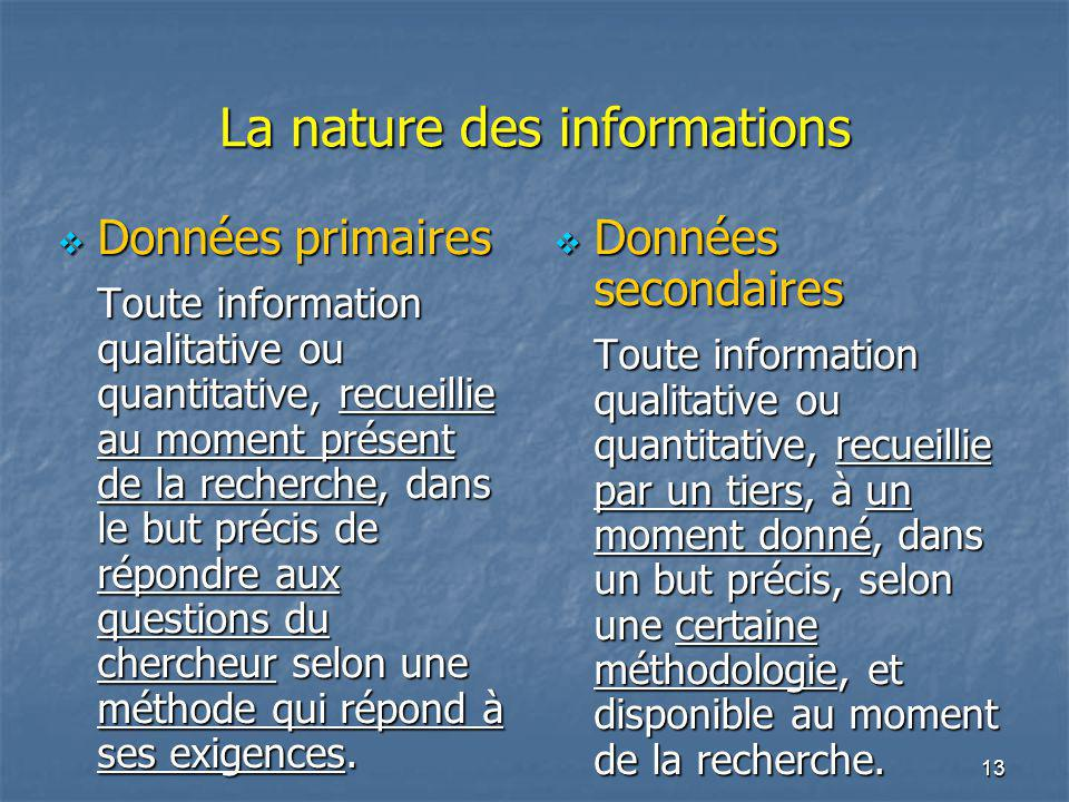 La nature des informations