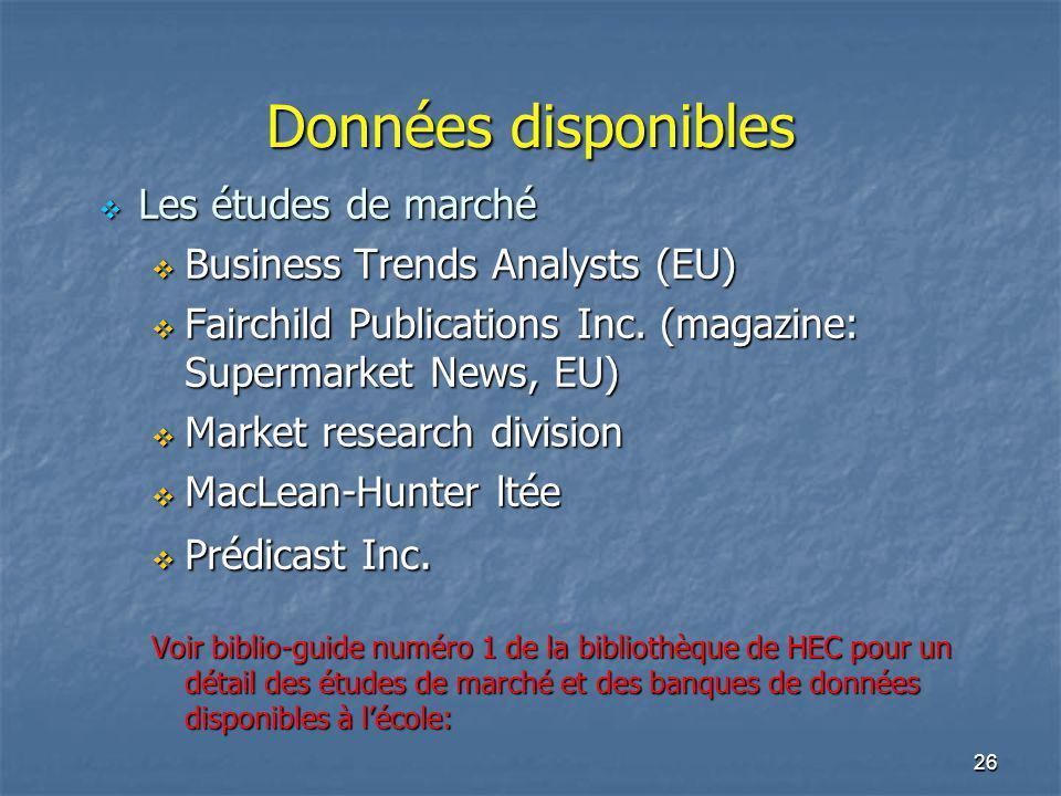 Données disponibles Les études de marché Business Trends Analysts (EU)