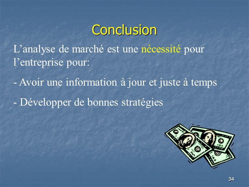 Conclusion L'analyse de marché est une nécessité pour l'entreprise pour: Avoir une information à jour et juste à temps.