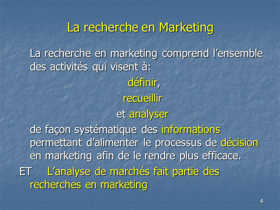La recherche en Marketing