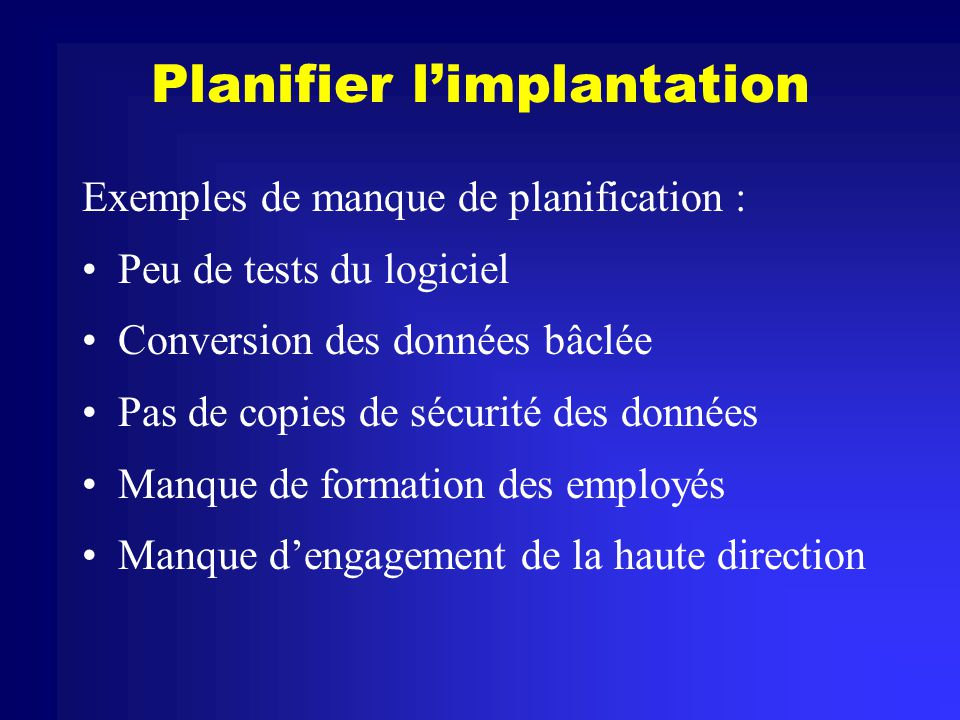 Planifier l'implantation