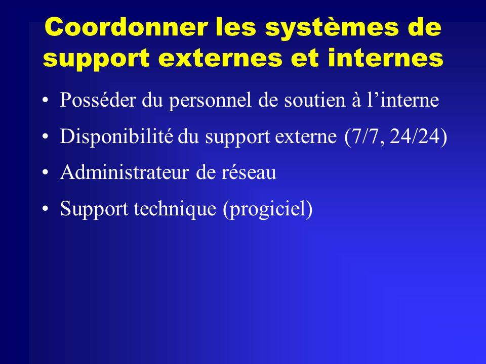 Coordonner les systèmes de support externes et internes