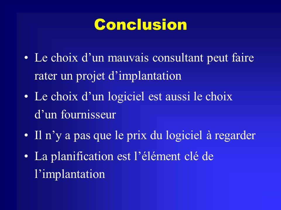 Conclusion Le choix d'un mauvais consultant peut faire rater un projet d'implantation. Le choix d'un logiciel est aussi le choix d'un fournisseur.