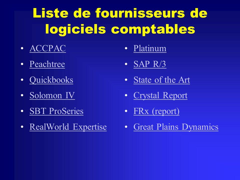 Liste de fournisseurs de logiciels comptables