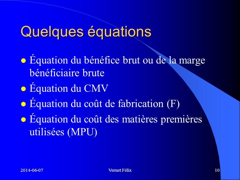 ECN 2165 - Comptabilité 1 Quelques équations. Équation du bénéfice brut ou de la marge bénéficiaire brute.
