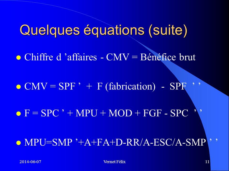 Quelques équations (suite)