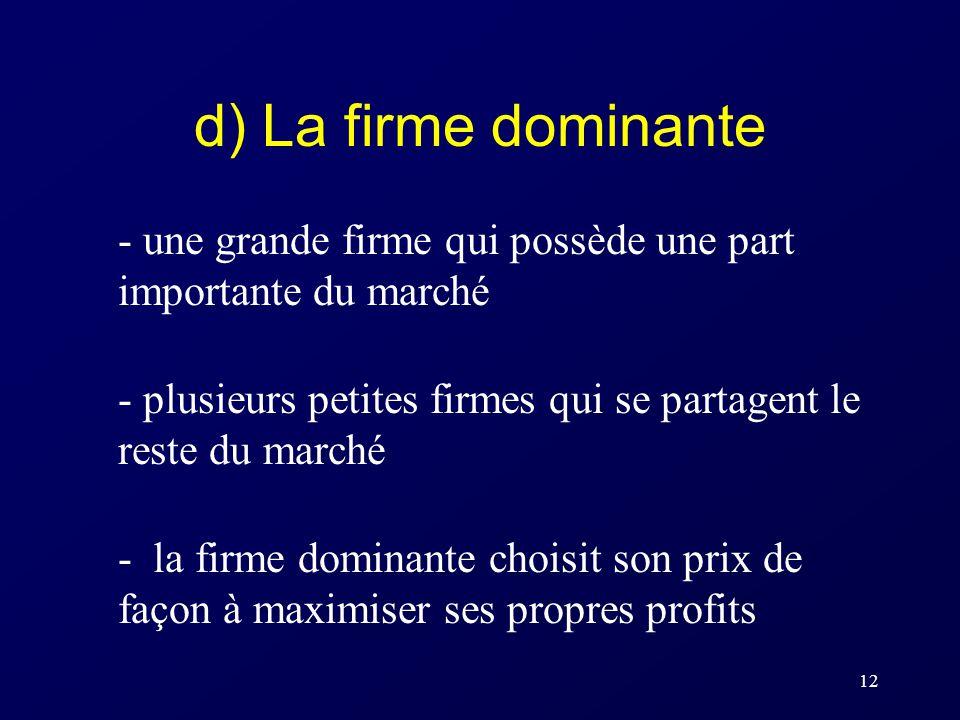d) La firme dominante - une grande firme qui possède une part importante du marché. - plusieurs petites firmes qui se partagent le reste du marché.