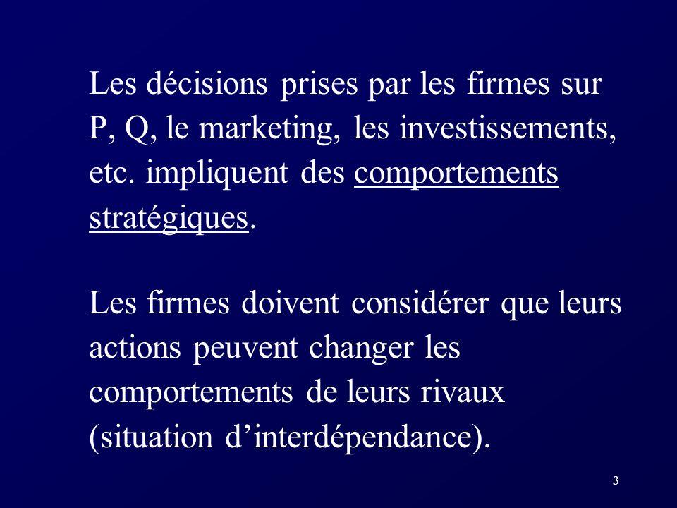 Les décisions prises par les firmes sur P, Q, le marketing, les investissements, etc. impliquent des comportements stratégiques.