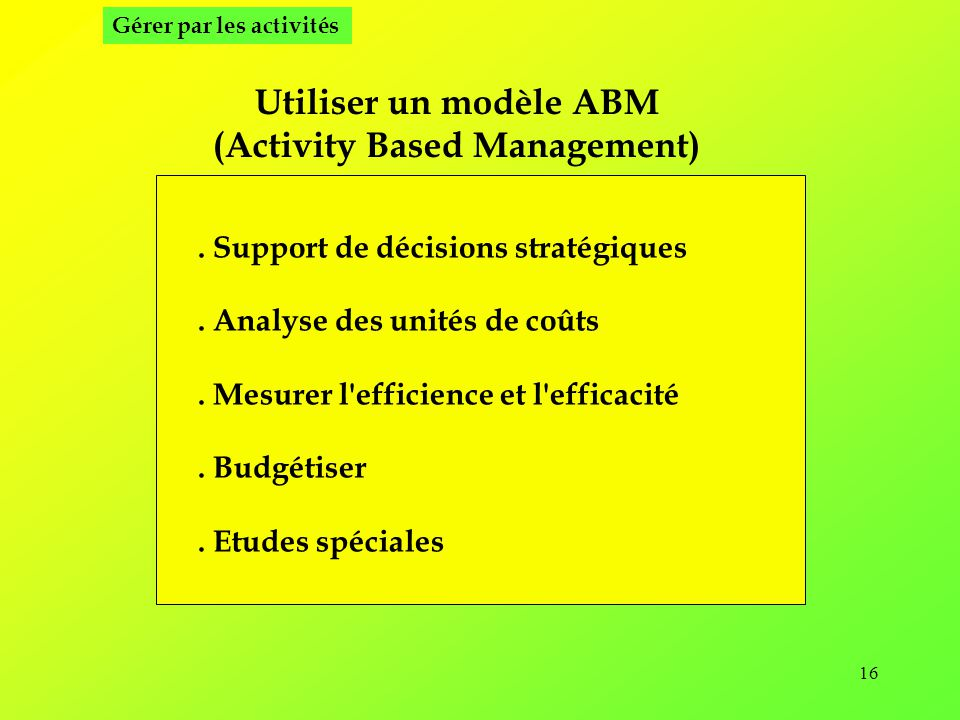 (Activity Based Management)