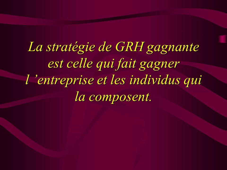 La stratégie de GRH gagnante est celle qui fait gagner l 'entreprise et les individus qui la composent.