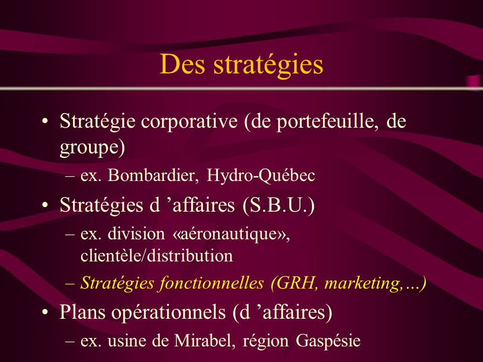 Des stratégies Stratégie corporative (de portefeuille, de groupe)