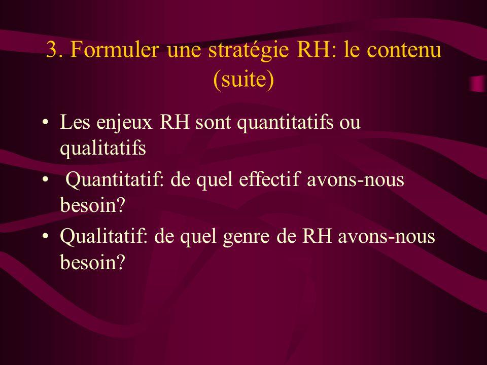 3. Formuler une stratégie RH: le contenu (suite)